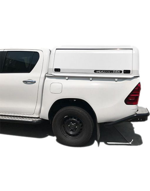 Hilux SR (J-Deck) Dual Cab Rhino Cab Extreme Aluminium Canopy White side view close up
