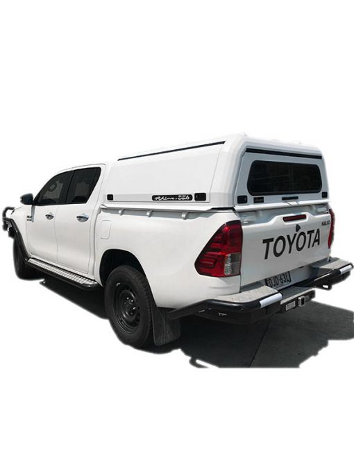 Hilux SR (J-Deck) Dual Cab Rhino Cab Extreme Aluminium Canopy White side view full vehicle